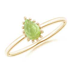 Pear-Shaped Peridot Beaded Halo Ring