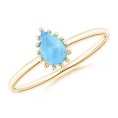 Pear-Shaped Swiss Blue Topaz Beaded Halo Ring