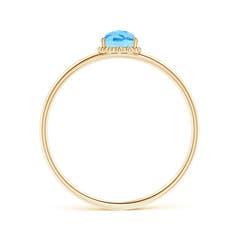 Toggle Pear-Shaped Swiss Blue Topaz Beaded Halo Ring