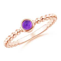 Bezel Set Amethyst Stackable Ring with Beaded Shank
