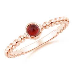 Bezel Set Garnet Stackable Ring with Beaded Shank