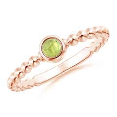 Bezel Set Peridot Stackable Ring with Beaded Shank