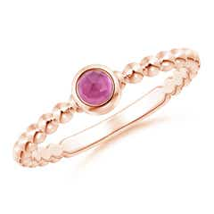 Bezel Set Pink Tourmaline Stackable Ring with Beaded Shank