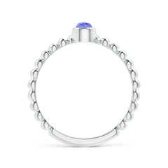 Toggle Bezel Set Tanzanite Stackable Ring with Beaded Shank