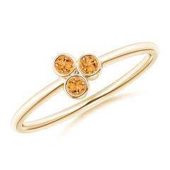 Bezel Set Citrine Trio Cluster Stackable Ring
