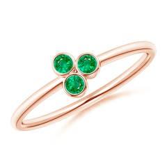 Bezel Set Emerald Trio Cluster Stackable Ring