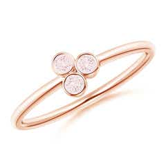 Bezel Set Morganite Trio Cluster Stackable Ring