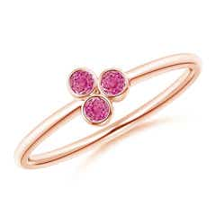 Bezel Set Pink Sapphire Trio Cluster Stackable Ring