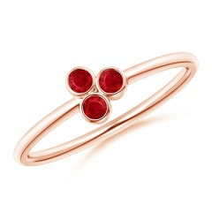Bezel Set Ruby Trio Cluster Stackable Ring