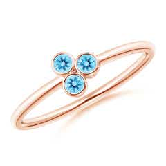 Bezel Set Swiss Blue Topaz Trio Cluster Stackable Ring