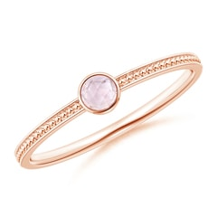 Bezel Set Morganite Ring with Beaded Groove Shank