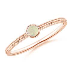 Bezel Set Opal Ring with Beaded Groove Shank