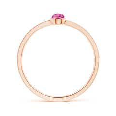 Toggle Bezel Set Pink Tourmaline Ring with Beaded Groove Shank