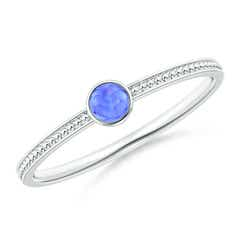 Bezel Set Tanzanite Ring with Beaded Groove Shank