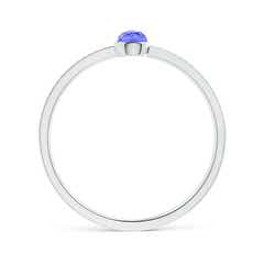 Toggle Bezel Set Tanzanite Ring with Beaded Groove Shank