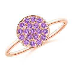Pave Set Round Amethyst Cluster Disc Ring