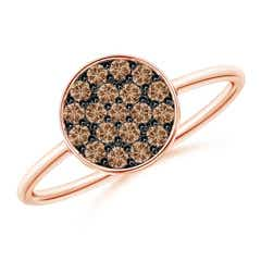 Pave Set Round Coffee Diamond Cluster Disc Ring