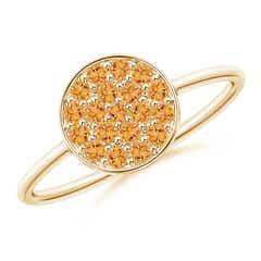 Pave Set Round Citrine Cluster Disc Ring
