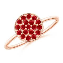 Pave Set Round Ruby Cluster Disc Ring