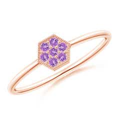 Hexagon-Shaped Amethyst Cluster Ring with Milgrain