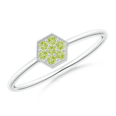 Hexagon-Shaped Peridot Cluster Ring with Milgrain