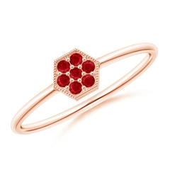 Hexagon-Shaped Ruby Cluster Ring with Milgrain