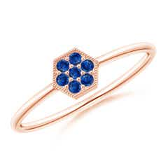 Hexagon-Shaped Sapphire Cluster Ring with Milgrain