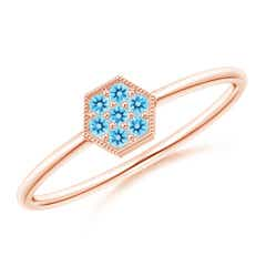 Hexagon-Shaped Swiss Blue Topaz Cluster Ring with Milgrain