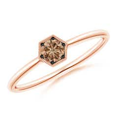 Pave Set Coffee Diamond Hexagon Solitaire Ring with Milgrain