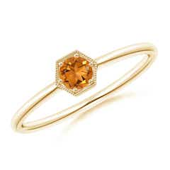 Pave Set Citrine Hexagon Solitaire Ring with Milgrain