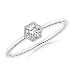 Pave Set Diamond Hexagon Solitaire Ring with Milgrain