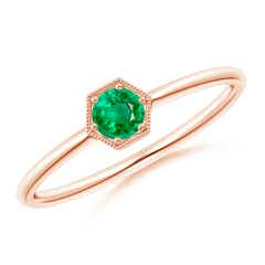 Pave Set Emerald Hexagon Solitaire Ring with Milgrain