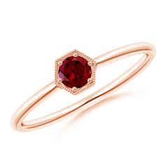 Pave Set Garnet Hexagon Solitaire Ring with Milgrain