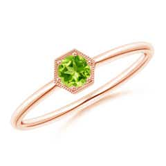 Pave Set Peridot Hexagon Solitaire Ring with Milgrain