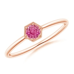 Pave Set Pink Sapphire Hexagon Solitaire Ring with Milgrain