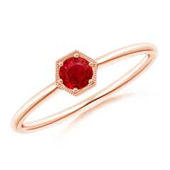 Pave Set Ruby Hexagon Solitaire Ring with Milgrain