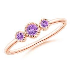 Bezel-Set Round Amethyst Three Stone Ring