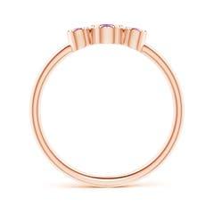 Toggle Bezel-Set Round Amethyst Three Stone Ring