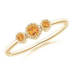 Bezel-Set Round Citrine Three Stone Ring