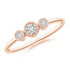 Bezel-Set Round Diamond Three Stone Ring