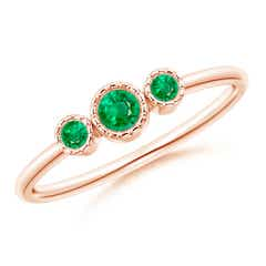 Bezel-Set Round Emerald Three Stone Ring