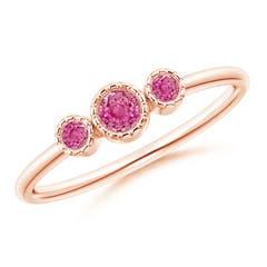 Bezel-Set Round Pink Sapphire Three Stone Ring