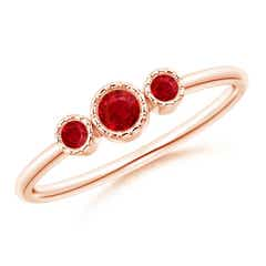 Bezel-Set Round Ruby Three Stone Ring