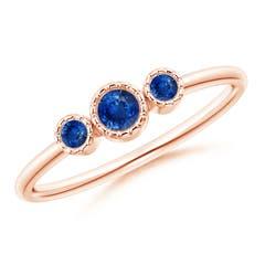 Bezel-Set Round Sapphire Three Stone Ring