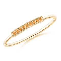 Pave Set Citrine Bar Ring with Milgrain