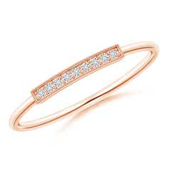 Pave Set Diamond Bar Ring with Milgrain