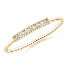 Pave Set Diamond Bar Ring with Milgrain