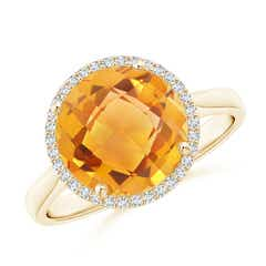 Round Citrine Cocktail Ring with Diamond Halo