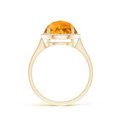 Toggle Round Citrine Cocktail Ring with Diamond Halo