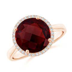 Round Garnet Cocktail Ring with Diamond Halo